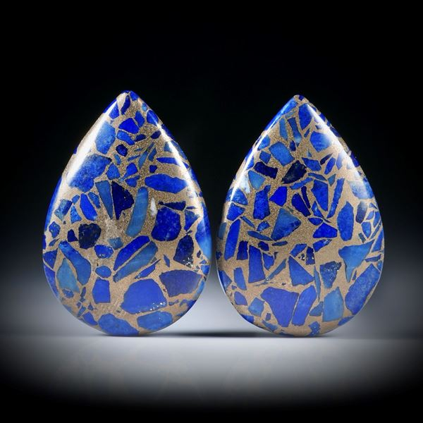 Lapislazuli in Bronze, Paar in Tropfenform poliert je ca.24x17x7mm