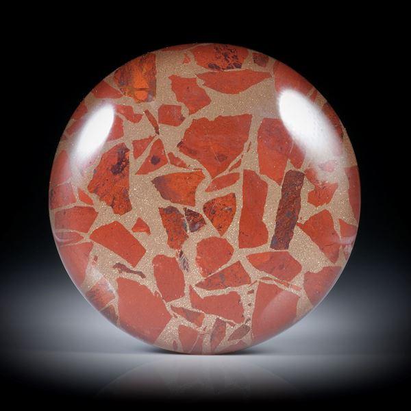 Jaspis in Bronzematrix, mit Bergkristall doublettiert, ca.33x33x8mm