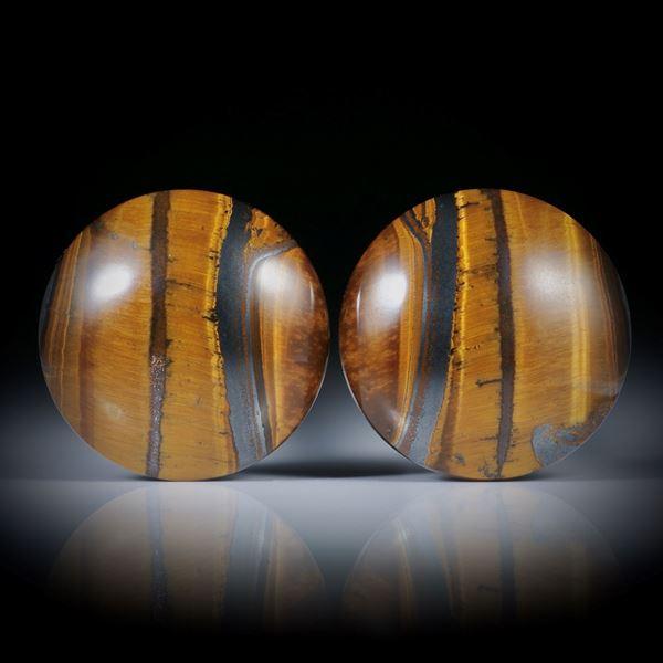 Tigerauge Paar, runde Cabochon, 26mm Durchmesser