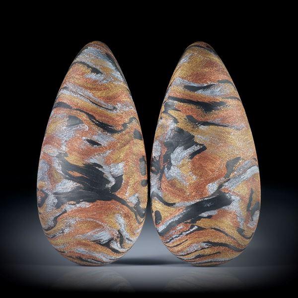 Carbon Paar mit Glasfaser Kupfer, Messing, Alu, beidseitig bombierte Tropfenformen, je ca.44x22x9mm
