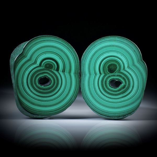 Malachit Paar, polierte Stalaktit Querschnitte mit intakter Aussenhaut, je ca.45x36x6mm