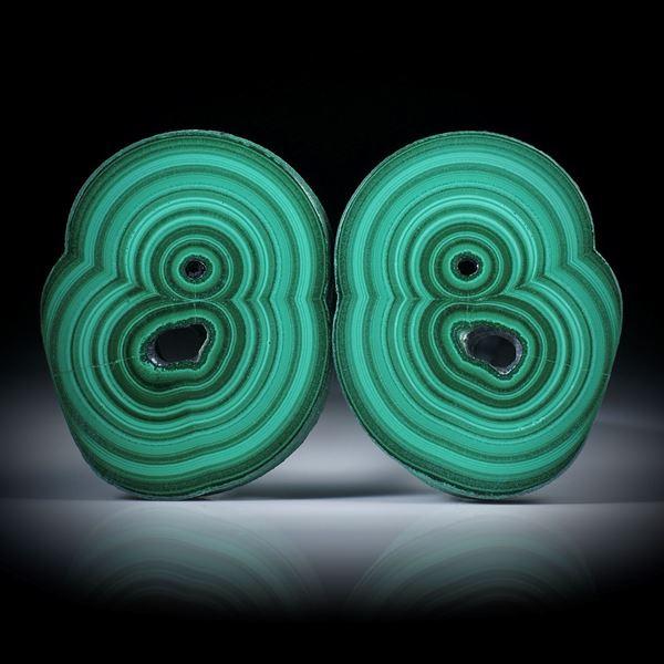 Malachit Paar, polierte Stalaktit Querschnitte mit intakter Aussenhaut, je ca.45x35x6mm
