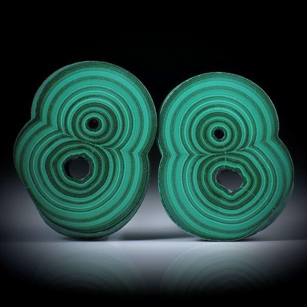 Malachit Paar, polierte Stalaktit Querschnitte mit intakter Aussenhaut, je ca.43x33x6mm