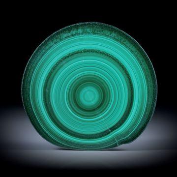 Malachit, polierter Stalaktit Querschnitt mit intakter Aussenhaut, ca.44x43x6mm