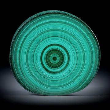 Malachit, polierter Stalaktit Querschnitt mit intakter Aussenhaut, ca.45x43x6mm