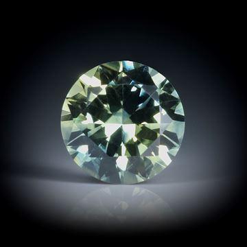 grüner Saphir, Australien, 1.3ct. rund facettiert ca.6.5x6.5x4mm