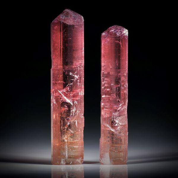 Turmalinkristall Paar, bicolor, total 49.8ct. mit angeschliffenen Standflächen, ca.43x9x8mm