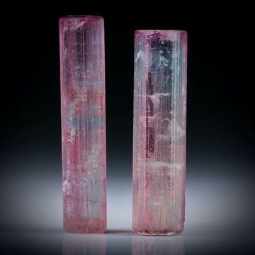 Turmalinkristall Paar, bicolor, total 28.66ct. mit angeschliffenen Standflächen, ca.29.5x7.5x6mm und ca.31x6.5x6mm