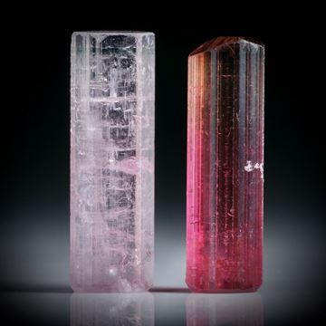 Turmalinkristall Paar, bicolor, total 14.59ct. mit angeschliffenen Standflächen, ca.20.5x7x5.5mm und ca.20x6x5mm