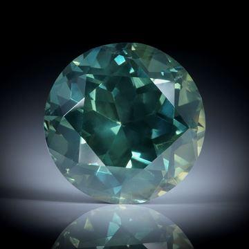 grüner Saphir Australien 3.04ct. rund facettiert, ca.8.5x8.4x6mm