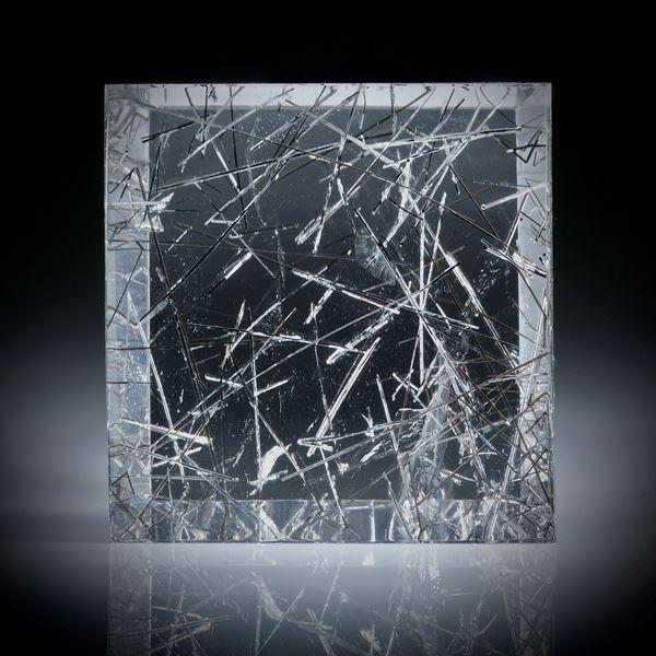 Rutilquarz Brasilien 137.14ct.  dick geschliffenes Quadrat mit leichter Wölbung, ca.33x32x13mm
