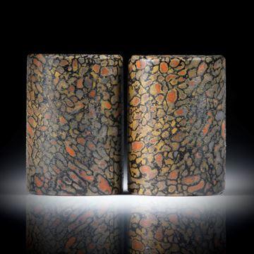 Paar aus versteinerten Saurierknochen, Dinobone, rechteckige Formen, halbrund im Profil, je ca.24x17x8mm