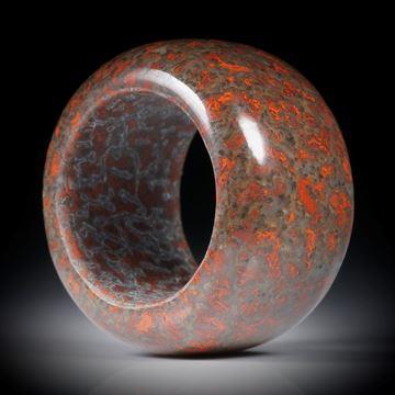 Fingerring aus versteinertem Saurierknochen, Dinobone, parallel geschliffen, Breite 15.5mm, Innendurchmesser 18mm