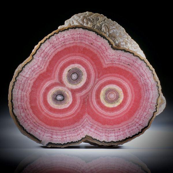 Rhodochrosit Stalaktit Querschnitt, mit intakter Aussenhaut, beidseitig geschliffen und poliert, ca.91x77x14mm