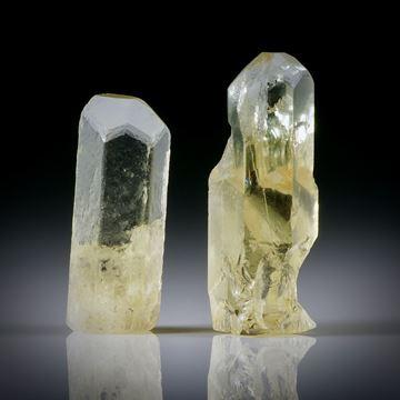 Goldberyll Kristall Paar 16.85ct. ca.21.5x7.5x7mm und 18x6.5x6.5mm