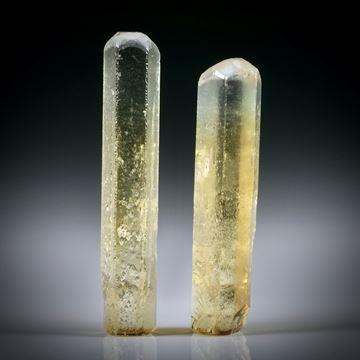 Goldberyll Kristall Paar 15.48ct. ca.30x5.5x4.5mm und 27x6.5x5.5mm