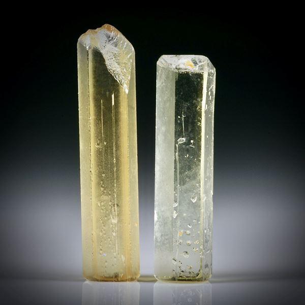 Goldberyll Kristall Paar 18.96ct. ca.30x7x5mm und 26x7x5.5mm