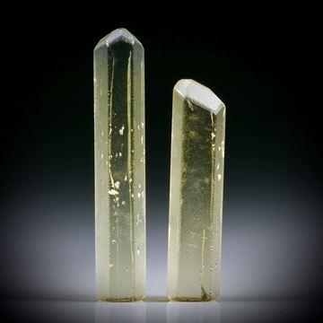 Goldberyll Kristall Paar 17.58ct. ca.33.5x6x5mm und 27x6.5x4.5mm