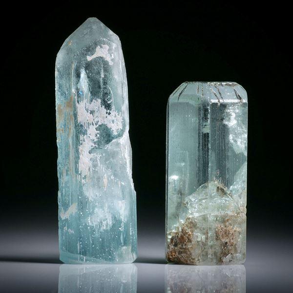 Aquamarinkristall Paar 82.18ct.  ca.39.5x13x8.5mm und 29.5x14.5x11mm