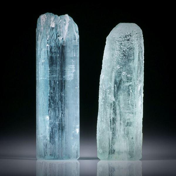 Aquamarinkristall Paar 52.3ct.  ca.33x10.5x9mm und 31x10.5x8.5mm