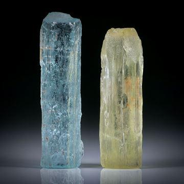 Aquamarin und Goldberyll Kristalle 75.36ct.  Ca.40x11x9.5mm und 37x11x11mm