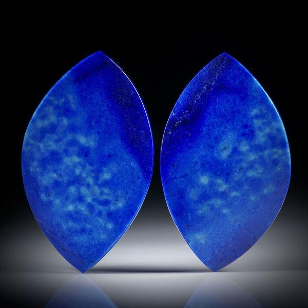 Lapislazuli Paar 72.97ct.  Blatt-Formen in Torsion geschliffen und beidseitig poliert, je ca.46x27x4.5mm