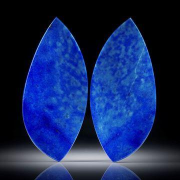 Lapislazuli Paar 49.53ct.  Blatt-Formen in Torsion geschliffen und beidseitig poliert, je ca.48x22x3.5mm