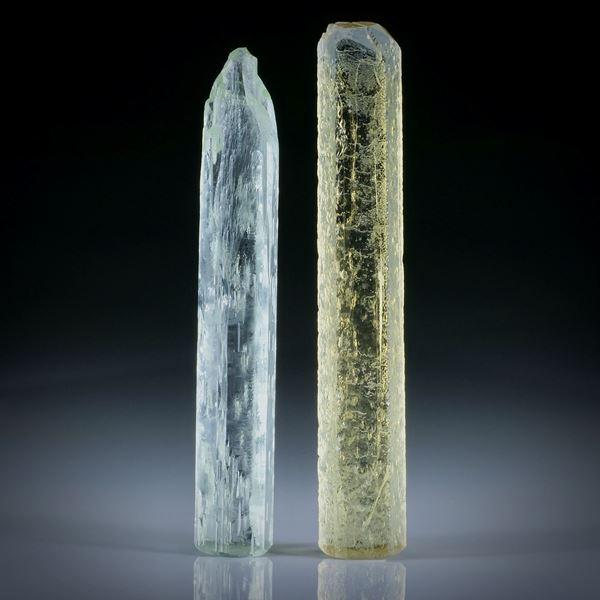 Beryll Kristall Paar 61.71ct. Goldberyll und Heliodor ca.57x9x6mm und 54x8.5x8mm