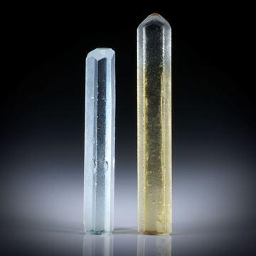 Beryll Kristall Paar 40.78ct. Goldberyll und Heliodor ca.50x8x5.5mm und 42x7.5x6mm