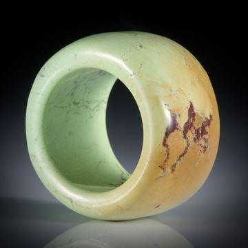 Zitronenchrysopras Fingerring, parallel geschliffen, Breite 16mm, Innendurchmesser 18.1mm