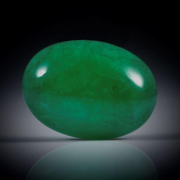 Smaragd 4.07ct. ovaler Cabochon ca.13x10x4.5mm