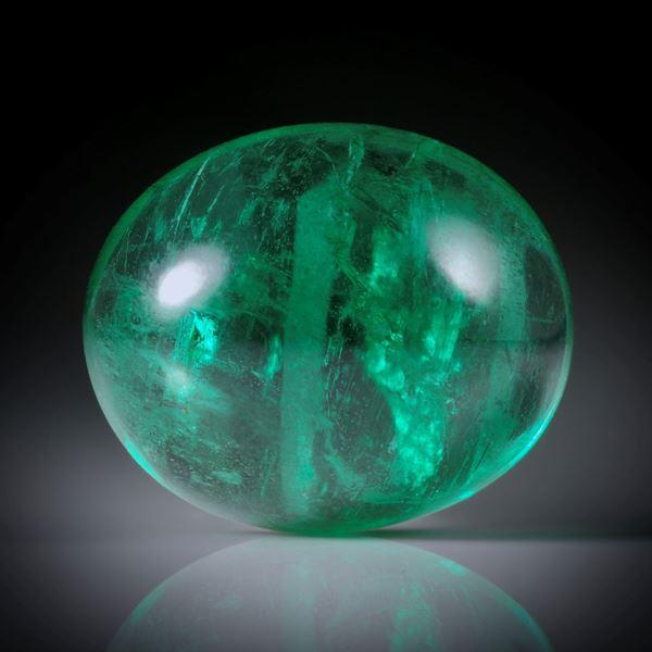 Smaragd 3.05ct. ovaler Cabochon ca.10x8.5x5mm
