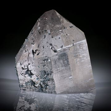 schweizer Bergkristall mit aufgewachsenen Hämatitkristallen, ca.62x61x48mm