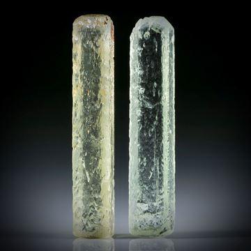 Beryll Kristall Paar 26.23ct. ca.35x7x6mm und 34x7x5mm