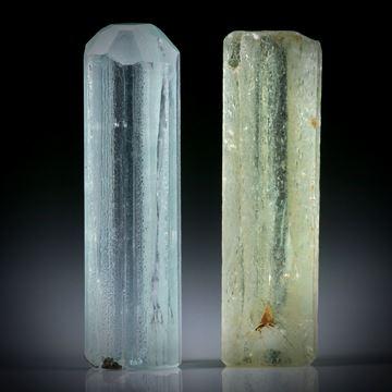 Beryll Kristall Paar 28.88ct. ca.29x8.5x6mm und 28x8x7mm