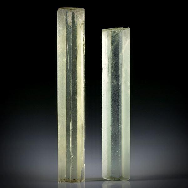 Beryll Kristall Paar 41.37ct. ca.44x8x6.5mm und 38x7.5x6mm