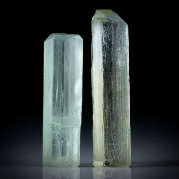 Beryll Kristall Paar 45.71ct. ca.31x9x9mm und 37x9.5x7mm