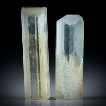 Beryll Kristall Paar 35.95ct. ca.29x9x6.5mm und 27x9x7mm