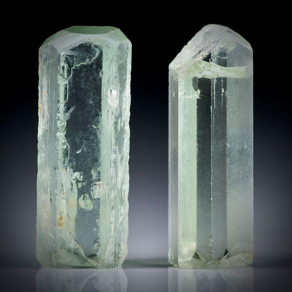 Beryll Kristall Paar 13.93ct. ca.19x7x6mm und 18.5x6.5x5mm