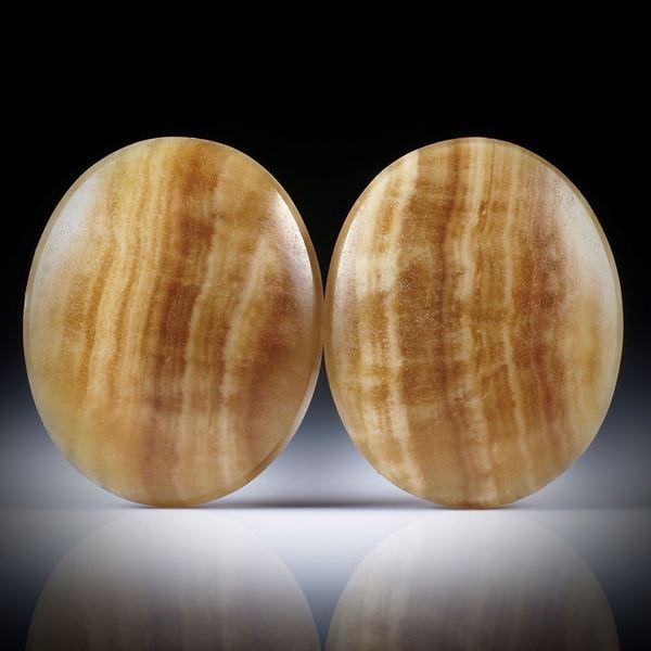 Aragonit / Tropfstein Paar, ovale Cabochon je ca.26.5x21.5x5mm