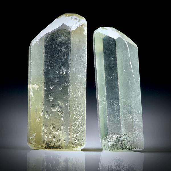 Beryll Kristall Paar 10.76ct. ca.19x8x4mm und 17.5x6x5mm