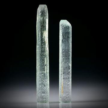 Beryll Kristall Paar 27.04ct. ca.46x6x5.5mm und 38.5x6x5.5mm