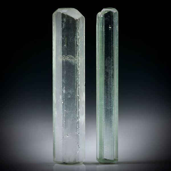 Beryll Kristall Paar 23.73ct. ca.37x7.5x5mm und 37x5x4mm