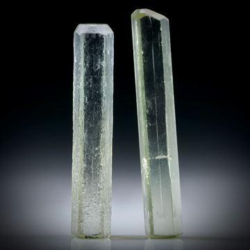 Beryll Kristall Paar 30.94ct. ca.43x7x4mm und 40x7x5.5mm