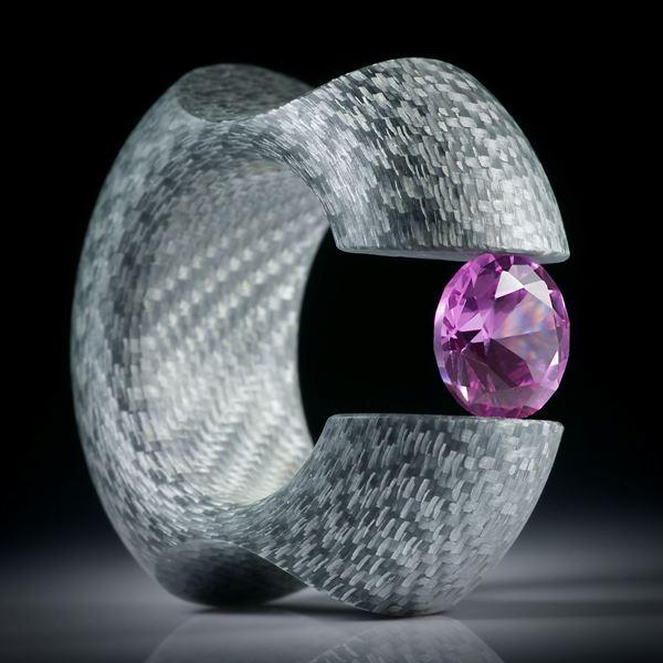 Alutex Spannring, feines Muster mit synth. rosa Saphir 10mm, Ringbreite 15mm, Innendurchmesser 19.2mm