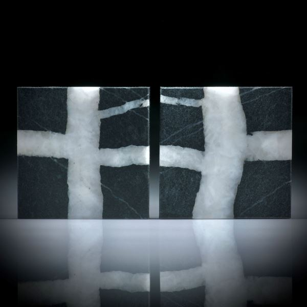 Kieselstein Paar, Viereck Formen, beidseitig plangeschliffen und feinmatt, je ca.26x26x3mm