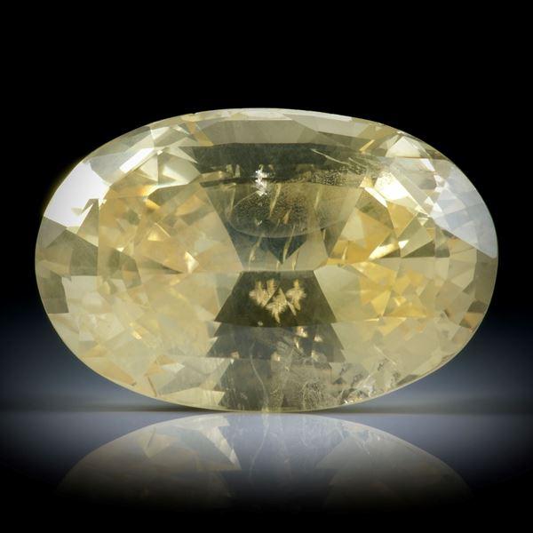 Saphir Ceylon unerhitzt 20.19ct. oval facettiert ca.19.5x13x9.5mm