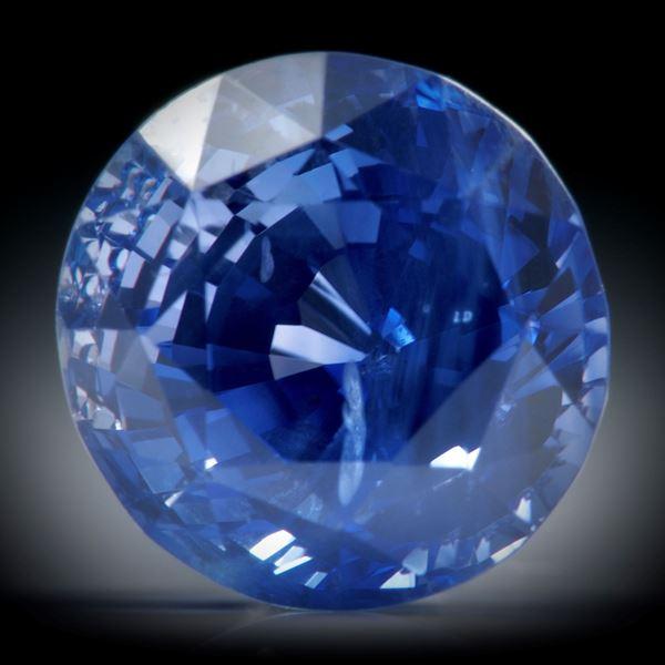 Saphir Ceylon kornblumenblau, unerhitzt 5.1ct. rund facettiert ca.9x8.5x7.5mm